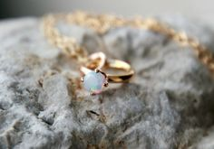 Gold OPAL CHARM RING  Tiny Opal Ring  Ring Charm  by galwaydesigns