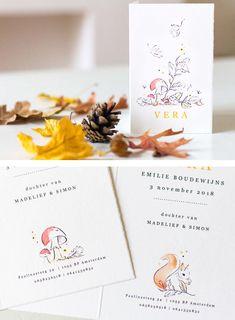 Herfst geboortekaartje - illustratie Anne-Lieke - natuur - seizoenen - jongen of meisje - paddenstoel - beukennootjes - vallende bladeren - eekhoorn - bos - inkt - aquarel - waterverf - Vera - Axel Place Cards, Place Card Holders