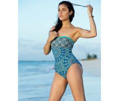 Jessica Simpson Exotic Print Lattice Bandeau Swimsuit (£39)
