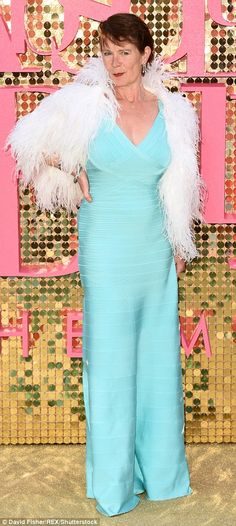 Dazzling: Celia Imrie, who plays PR rival Claudia Bing in the movie, brought some Hollywood glamour in an aquamarine gown and feathery jacket Celia Imrie, Victoria Wood, Jennifer Saunders, Joanna Lumley, Ab Fab, English Actresses, Absolutely Fabulous, Hollywood Glamour, World Of Fashion