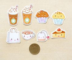 Cute Coffee and Cake Sticker Pack of 24 | BeagleCakesArt. Cool for tea or coffee dates
