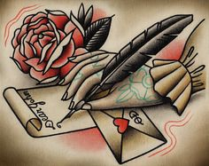 Love Letter Tattoo Print by ParlorTattooPrints on Etsy, $24.00