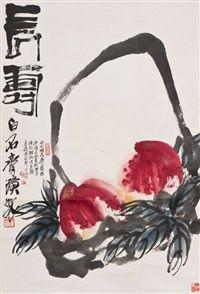 A CHINESE PAINTING OF LONGEVITY PEACHES par Qi Baishi