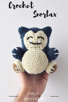 Snorlax Amigurumi PatternTrying to become the next Pokemon master? Learn how to create your own cute Snorlax with this free crochet pattern! This free amigurumi project is easy for beginners and includes a step by step tutorial of all the stitches, Pokemon Crochet Pattern, Crochet Shrug Pattern, Crochet Amigurumi Free Patterns, Crochet Motifs, Easy Crochet Patterns, Loom Patterns, Crochet Shawl, Knitting Patterns, Beginner Crochet Projects