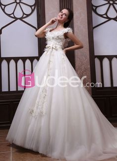 Cap-sleeve Ivory Luxury Wedding Dress with Flower Covered Bodice and Open Back