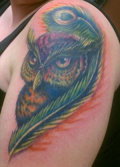 Owl Tattoo Cover-Up...amazing!!! I really wish this was a better picture.