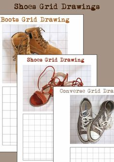 Shoes Grid Drawing Teaching Drawing, Teaching Art, Teaching Resources, Middle School Art, Art School, 7th Grade Art, Eighth Grade, Intro To Art, Art Sub Plans