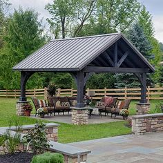 The cinder stain looks great with the dark bronze standing seam metal roofing on our Alpine Pavilion.