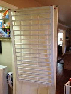 Repurpose an old crib and make a drying rack! Saves space! could use a baby gate too!