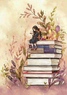 inspiration for drawing & art appreciation — Illustration by Aeppol Art And Illustration, Art Anime Fille, Anime Art Girl, Art Mignon, Reading Art, Reading Books, Reading Journals, Girl Reading, Forest Girl