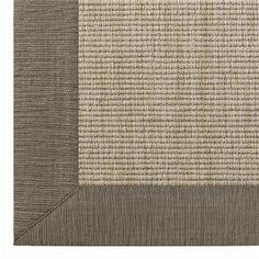 Mushroom w/ Taupe Sisal- LOVE THIS! Linen Texture Border Wool Sisal Rug 6 Colors