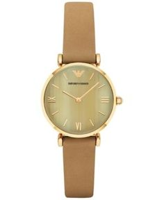 Emporio Armani Women's Gianni T-Bar Light Brown Leather Strap Watch Armani Jewellery, Brown Leather Strap Watch, Armani Watches, Bar Lighting, Emporio Armani, Jewelry Watches, Accessories, White Watches, Analog Watches