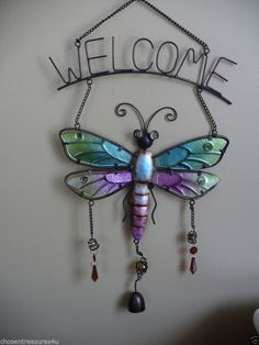 "14 "" DRAGONFLY WELCOME WIND CHIME GARDEN DECOR 24"" TALL YARD DECOR OUTDOOR SPACE"