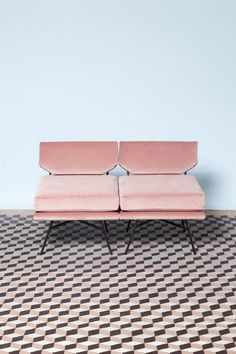 Pink velvet armchairs and increidble geometric tiles. #pink #interiors #decorate #interiordesign
