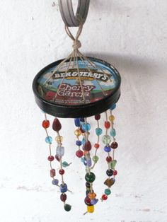 Handmade Rainbow Ben and Jerrys Cherry Garcia Upcycled Beaded Hemp Wind Chime Hemp Crafts, Decor Crafts, Diy For Kids, Crafts For Kids, Arts And Crafts, Diy Recycle, Recycling, Rainbow Glass, Ben And Jerrys