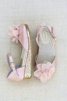 pink and glitter flower girl shoes.