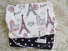 Eiffel Tower Burp Cloth Set-Baby Girl Burp Cloth Set, Polka Dot Burp Cloth, Chenille Burp Cloths