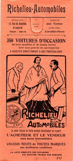 Richelieu-Automobiles, dealer in second-hand cars, Paris, 1907 #Booktower