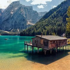 Beach House -  Lake Braies, a lake in the Prags Dolomites in South Tyrol, Italy