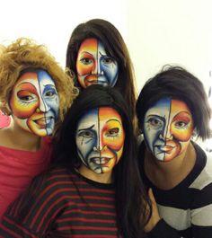 #Color, color, color... Estamos con el #maquillaje de fantasía triste y alegre. — en Colors-Up Escuela de Maquillaje Profesional.