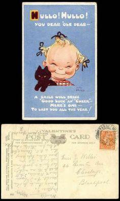 Mabel Lucie Attwell 1949 Old Postcard Girl Good Luck Black Cat Kitten Hullo 805 | eBay