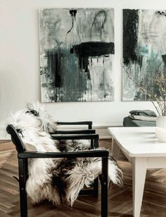 A collection of black and white art - affordable art prints to add interest to any interior. Living Room Inspiration, Interior Inspiration, Warm Grey Walls, Parquet Chevrons, Art Blanc, Monochrome Interior, Scandinavian Interior, Interior Decorating, Interior Design