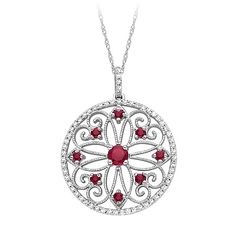 Fred Meyer Jewelers   1/3 ct. tw. Diamond and Ruby Medallion Pendant