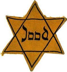 dit is een Jodenster die alle joden moesten dragen zodat Duitsers goed konden zien wie er joods was