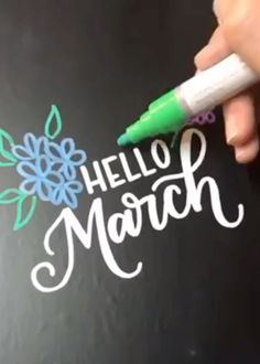 Welcoming the warm weather and the flowers starting to bloom with Kassa chalk markers Springtime calligraphy. Welcoming the warm weather and the flowers starting to bloom with Kassa chalk markers Hand Lettering Tutorial, Chalk Lettering, Hand Lettering Alphabet, Creative Lettering, Lettering Styles, Caligraphy Alphabet, Typography Art, Calligraphy Video, Calligraphy Handwriting