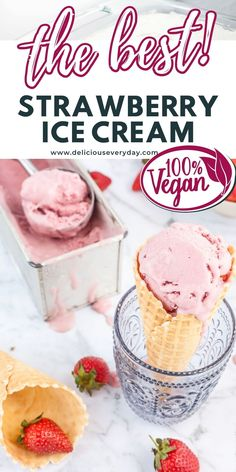 This vegan strawberry ice cream contains no bananas, no coconut and it is so creamy and delicious you'd never know its dairy free. Healthy Vegan Desserts, Vegan Dessert Recipes, Strawberry Ice Cream, Vegan Options, Vegan Cake, Frozen Desserts, Ice Cream Recipes, Quick Easy Meals, Bananas