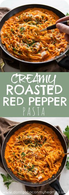 This Creamy Roasted Red Pepper Pasta is super quick and seriously delicious. The perfect meal to add to your family rotation dinners #creamy #roastedpepper #pasta | www.dontgobaconmyheart.co.uk