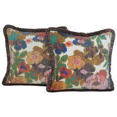 Pair of Vintage Floral Linen Pillows