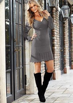 """Venus.com  Multi Stitch Sweater Dress $34  Feel sweet in the dainty detail added to the in-demand sweater dress. ·  If in between sizes, we recommend to order the smaller size   ·  Elastic at sleeve opening   ·  V-neck   ·  20"""" in length from natural waist   ·  Acrylic   ·  Made in USA  · Style #Z28215  More Details Orig. $42 SALE $34"""