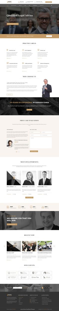 Kinglaw is clean and modern design #PSD template for #attorney and #lawyers website with 4 homepage layouts and 23 layered PSD pages to live preview & download click on Visit