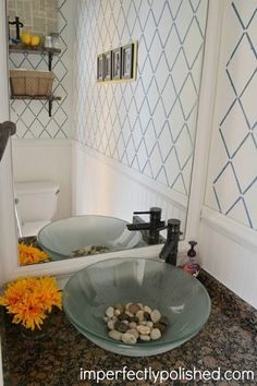 A DIY stenciled accent wall using the Harlequin Trellis Allover Stencil from Cutting Edge Stencils. http://www.cuttingedgestencils.com/trellis-stencil-harlequin.html
