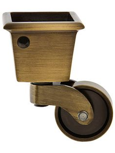 """Large Square Cup Caster With 1 1/4"""" Brass Wheel"""