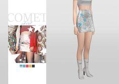 Comet Skirt  • New mesh / EA mesh edit  • Category: bottoms (women)  • Age: teen / young adult / adult / elder  • 5 swatches  Download: SimFileShare