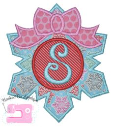 Snowflake monogram with bow applique  design! Great for Frozen themed shirts!   www.hookedonapplique.com