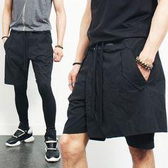 Avant garde Zippered Skirt Layered Short Sweatpants
