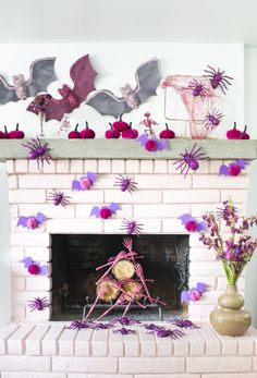 Pink Halloween Mantel – A Subtle Revelry Kawaii Halloween, Pink Halloween, Holidays Halloween, Scary Halloween, Happy Halloween, Halloween Party, Halloween 2019, Halloween Mantel, Halloween Home Decor