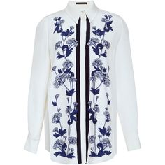 Mother of Pearl Keres Floral Embroidered Bib Shirt ($650) ❤ liked on Polyvore