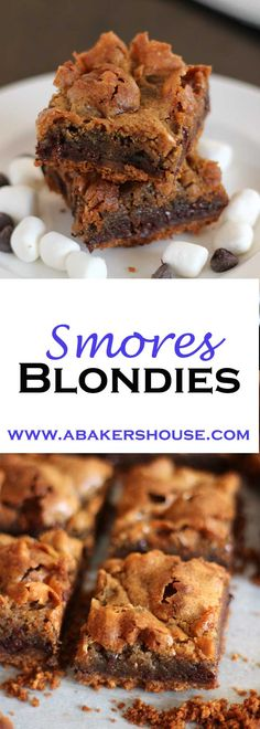 These s'mores blondies start with a graham cracker base then are topped with a blondie batter filled with marshmallows and chocolate chips. The result is a chewy bite that will remind you of sitting around the campfire enjoying s'mores.