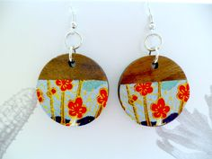 Wooden Circle Earrings with Chinese Paper Decoupage