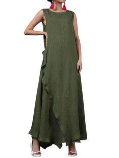 Casual Pure Color Sleeveless Irregular Maxi Dress For Women
