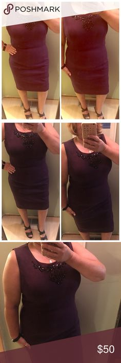 Just In Charter Club Special Occasion Dress This gorgeous embellished special occasion dress is a heavy knit in a beautiful eggplant color.  Worn just once to a wedding Charter Club Dresses