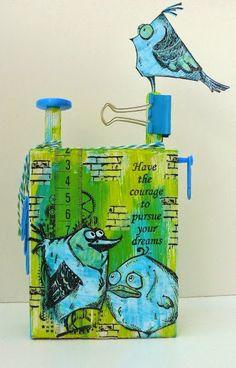 Tim Holtz Crazy Birds on altered wooden block, made by Alie Hoogenboezem-de Vries (picture 1 of 2)
