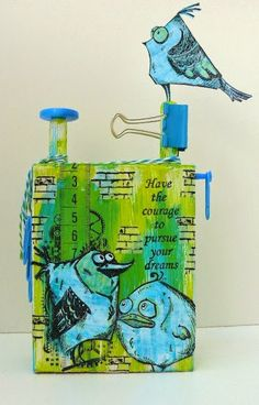 Tim Holtz Crazy Birds on altered wooden block, made by Alie Hoogenboezem-de Vries (picture 1 of 2)