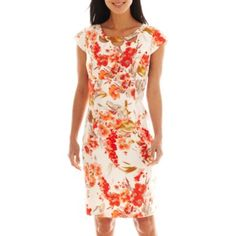 Liz Claiborne Cap-Sleeve Cutout Floral Sheath Dress   found at @JCPenney