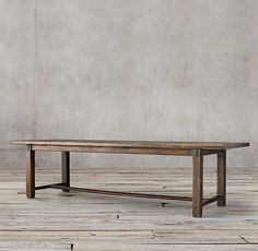 RH's 17th C. Spanish Monastery Rectangular Dining Table:Crafted with strong lines and a rustic design, this piece evokes the refectory tables found in 17th-century Spanish monasteries. Like its inspiration, the table has a trestle base and a long top to maximize serving space.