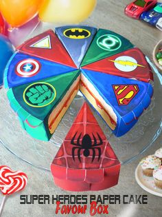Superhero box paper slice cake instant download favour boxes anniversary birthday superhero hulk Superman IronmanFlashGreenLantern Spiderman on Etsy, £4.09